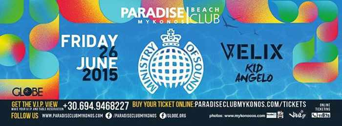Ministry of Sound headlines at Paradise Beach Club June 26