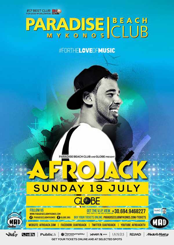Afrojack headlines at Paradise Beach Club on Sunday July 19!