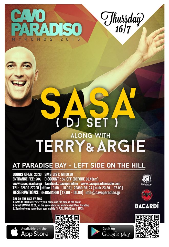 Sasa' hosts a DJ set at Cavo Paradiso on July 16 along with Terry & Argie