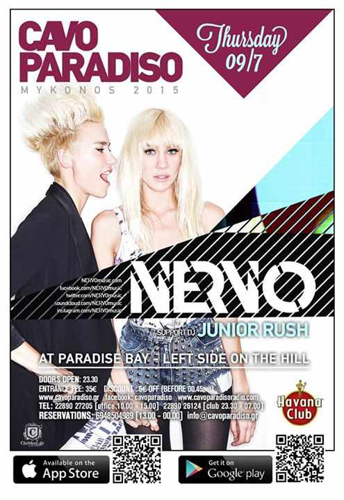Catch Nervo with Junior Rush at Cavo Paradiso on July 9