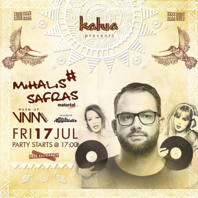 Mihalis Safras appears at Kalua beach bar on July 17